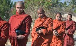 Burmese monks on the daily alms rounds - courtesy www.globalview.com