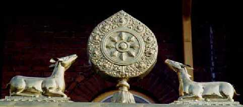Dharma-Wheel (symbol of the Buddha) with two Deer